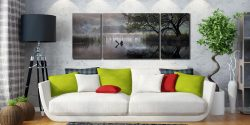 Hartsop Misty Morning - 3 Panel Wide Mid Canvas on Wall