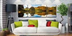 Loughrigg Tarn Autumn Reflections - 3 Panel Wide Mid Canvas on Wall