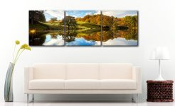 Loughrigg Tarn Autumn Reflections - 3 Panel Canvas on Wall