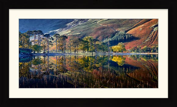 Buttermere Autumn Reflections - Framed Print with Mount