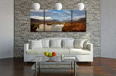 Clouds Mist Rainbow Grasmere - 3 Panel Wide Mid Canvas on Wall