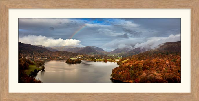 Clouds Mist Rainbow Grasmere - Framed Print with Mount