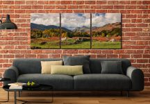 Sheep on Elterwater Common - 3 Panel Canvas on Wall