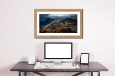 Darkness and Light on the Langdales - Framed Print with Mount on Wall