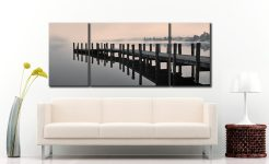 Coniston Jetty - 3 Panel Wide Mid Canvas on Wall