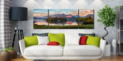 Derwent Water First Light - 3 Panel Wide Mid Canvas on Wall