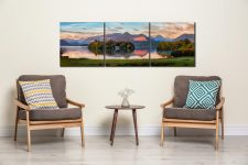 Derwent Water First Light - 3 Panel Canvas on Wall