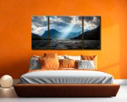 Sunbeams Over Buttermere - 3 Panel Wide Centre Canvas on Wall