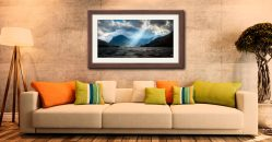 Sunbeams Over Buttermere - Framed Print with Mount on Wall