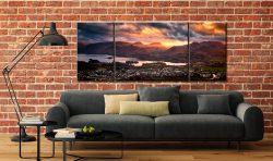 Sun Rays Over Cat Bells - 3 Panel Wide Mid Canvas on Wall