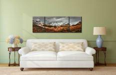 The Langdales from Castle Howe - 3 Panel Wide Mid Canvas on Wall