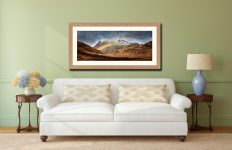 Langdale Pikes Rainbow - Framed Print with Mount on Wall