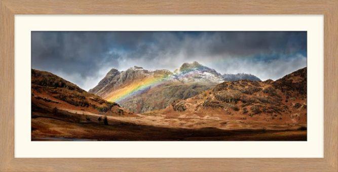 Langdale Pikes Rainbow - Framed Print