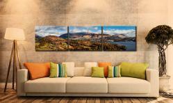 Keswick and Skiddaw Panorama - 3 Panel Canvas on Wall