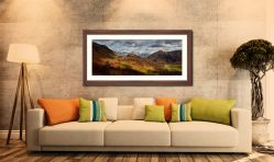Castle Crag Winter Sunshine - Framed Print with Mount on Wall