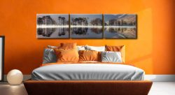 Buttermere Trees Silhouette - 3 Panel Canvas on Wall