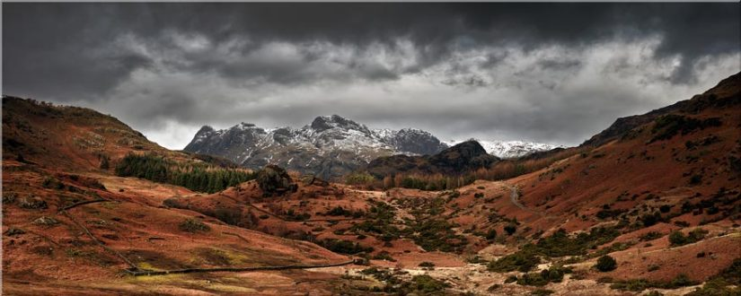 The Langdale Pikes Winter Panorama - Lake District Canvas