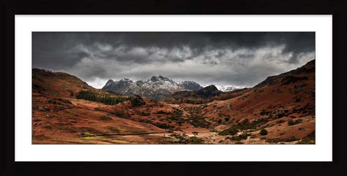 The Langdale Pikes Winter Panorama - Framed Print
