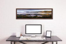 Bowness On Windermere Morning Mists - Walnut floater frame with acrylic glazing on Wall