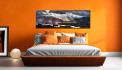 Sunbeams Over the Derwent Fells - Print Aluminium Backing With Acrylic Glazing on Wall