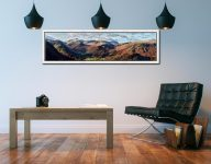 Borrowdale Mountains Panorama - White Maple floater frame with acrylic glazing on Wall