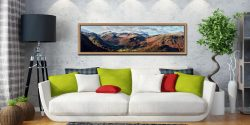 Borrowdale Mountains Panorama - Oak floater frame with acrylic glazing on Wall