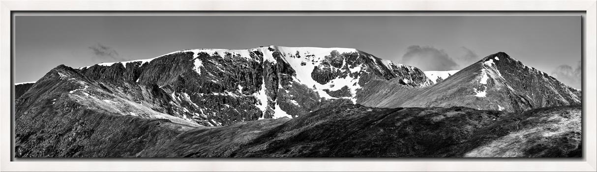Helvellynn Snow Capped - Black White Modern Print