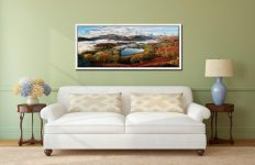 Loughrigg Tarn and Langdale Panorama - White Maple floater frame with acrylic glazing on Wall