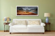 Darkness and Light at Wast Water - White Maple floater frame with acrylic glazing on Wall