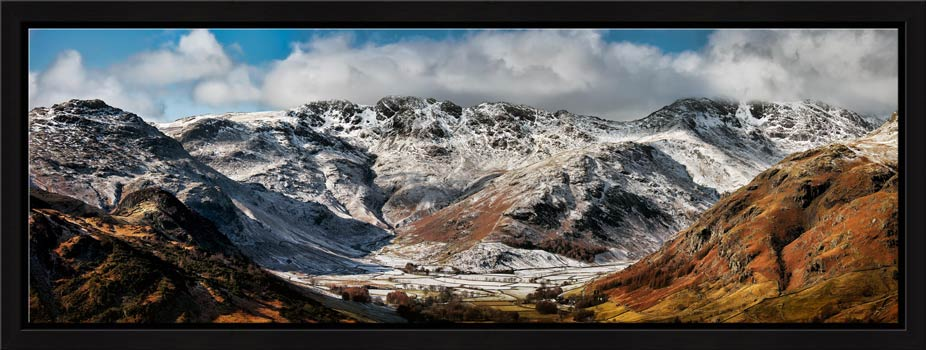 Snow on Crinkle Crags and Bow Fell - Modern Print