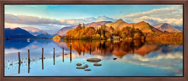 Derwent Water Panorama - Walnut floater frame with acrylic glazing