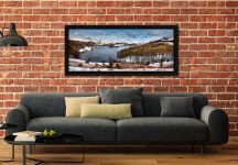 Grasmere Winter Panorama - Black oak floater frame with acrylic glazing on Wall