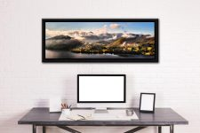 Ullswater Clouds Panorama - Black oak floater frame with acrylic glazing on Wall