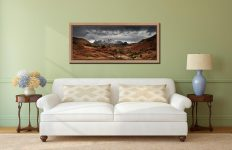 The Langdale Pikes Winter Panorama - Oak floater frame with acrylic glazing on Wall
