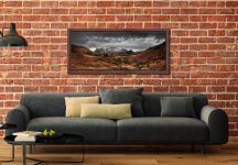 The Langdale Pikes Winter Panorama - Walnut floater frame with acrylic glazing on Wall