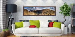 Dow Crag and Old Man Coniston - Walnut floater frame with acrylic glazing on Wall