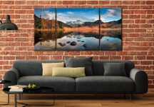 Spring Sunshine on Blea Tarn - 3 Panel Wide Centre Canvas on Wall