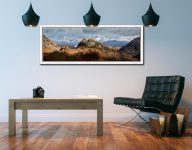 Castle Crag and Snowy Skiddaw - White Maple floater frame with acrylic glazing on Wall