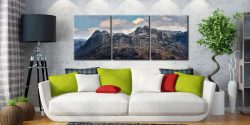 Late Snow on Langdale Pikes - 3 Panel Canvas on Wall