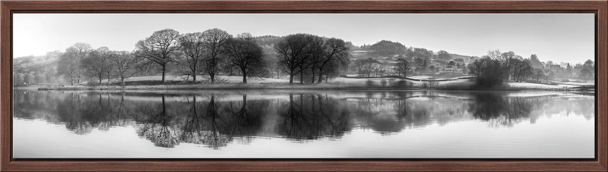 Misty Morning at Esthwaite Water - Black White Modern Print
