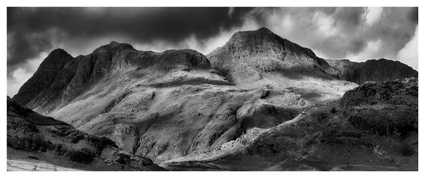 Langdale Pikes - Black White Lake District Print