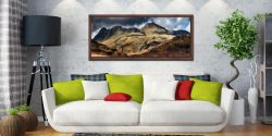 The Langdale Pikes - Walnut floater frame with acrylic glazing on Wall