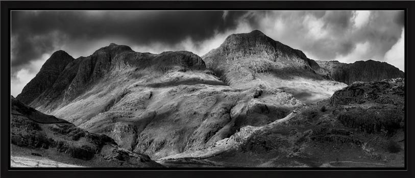 The Langdale Pikes - Lake District Modern Black White