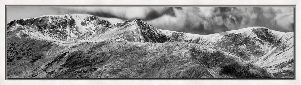 Helvellyn Mountains Range - Black White Modern Print