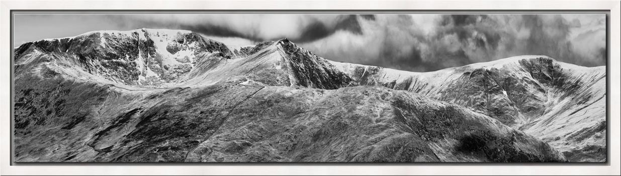 Helvellyn Mountains Range - Black White Modern Print