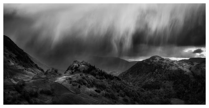 The Rains are a Coming - Black White Lake District Print