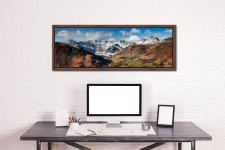 View down the Great Langdale Valley to the snow cover Crinkle Crags and Langdale Pikes - Walnut floater frame with acrylic glazing on Wall