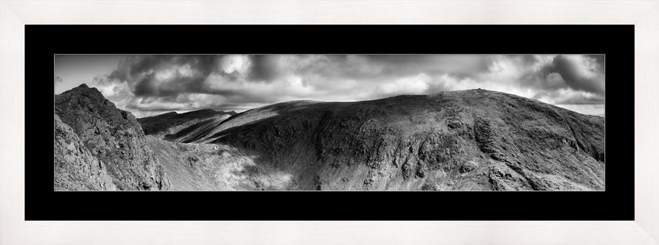 Dow Crag and Old Man Coniston - Black White Framed Print