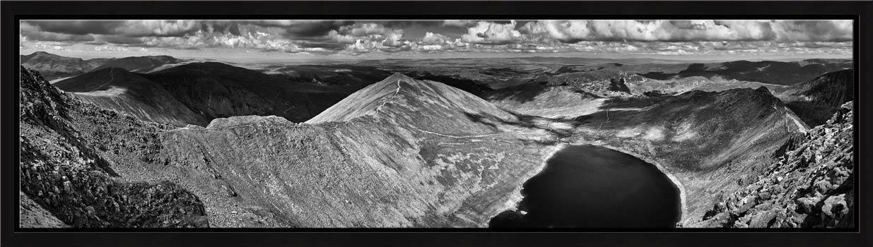 Swirral Edge to Striding Edge - Black White Modern Print