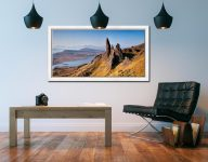 Old Man of Storr Panorama - White Maple floater frame with acrylic glazing on Wall
